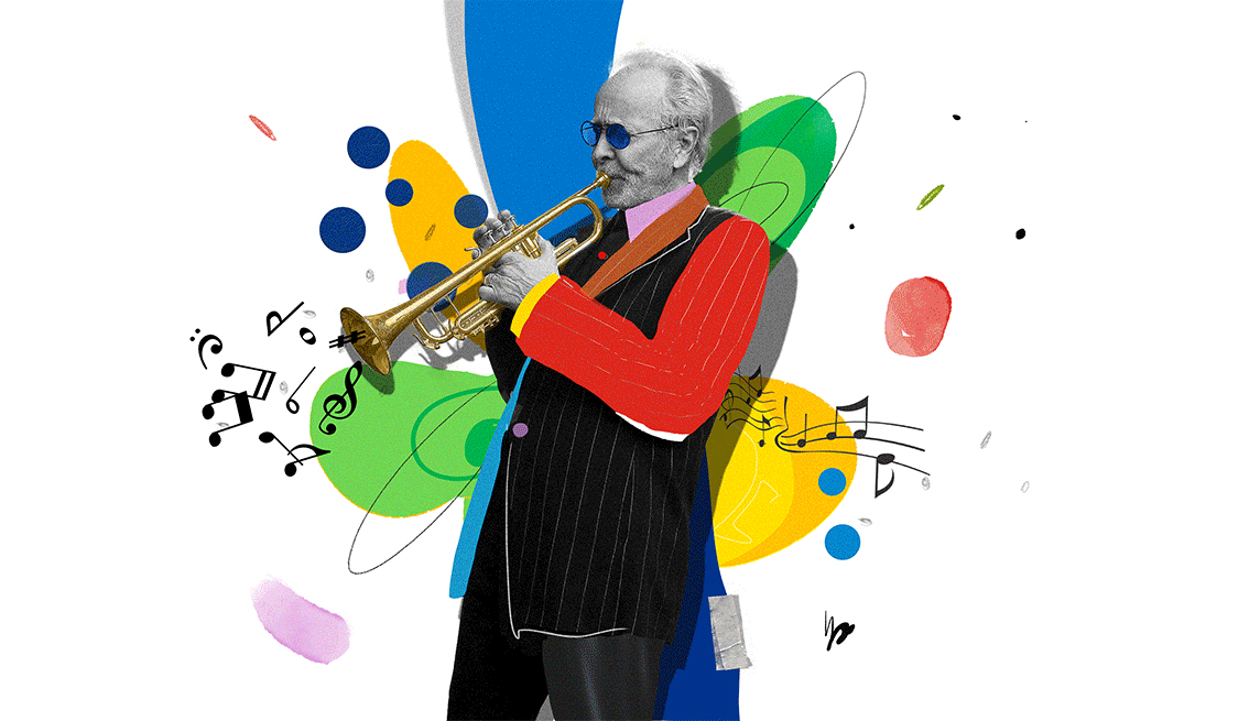 Colorful illustration of Herb Alpert playing trumpet