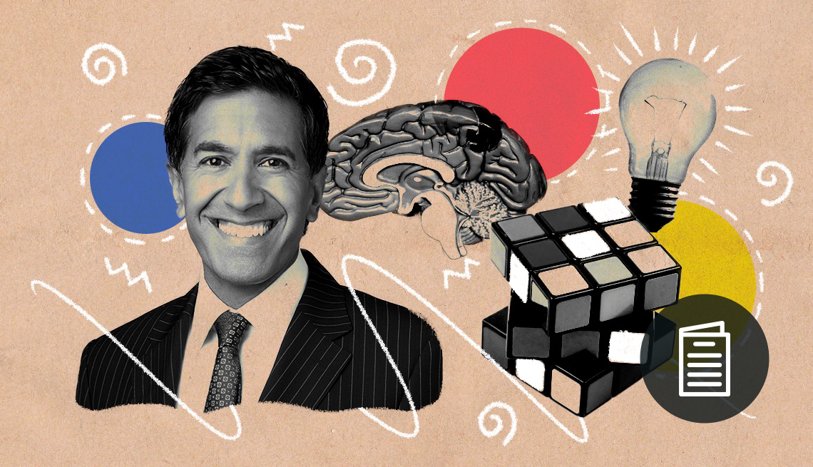 Colorful illustration of Sanjay Gupta smiling with brain, Rubik's cube, and light bulb