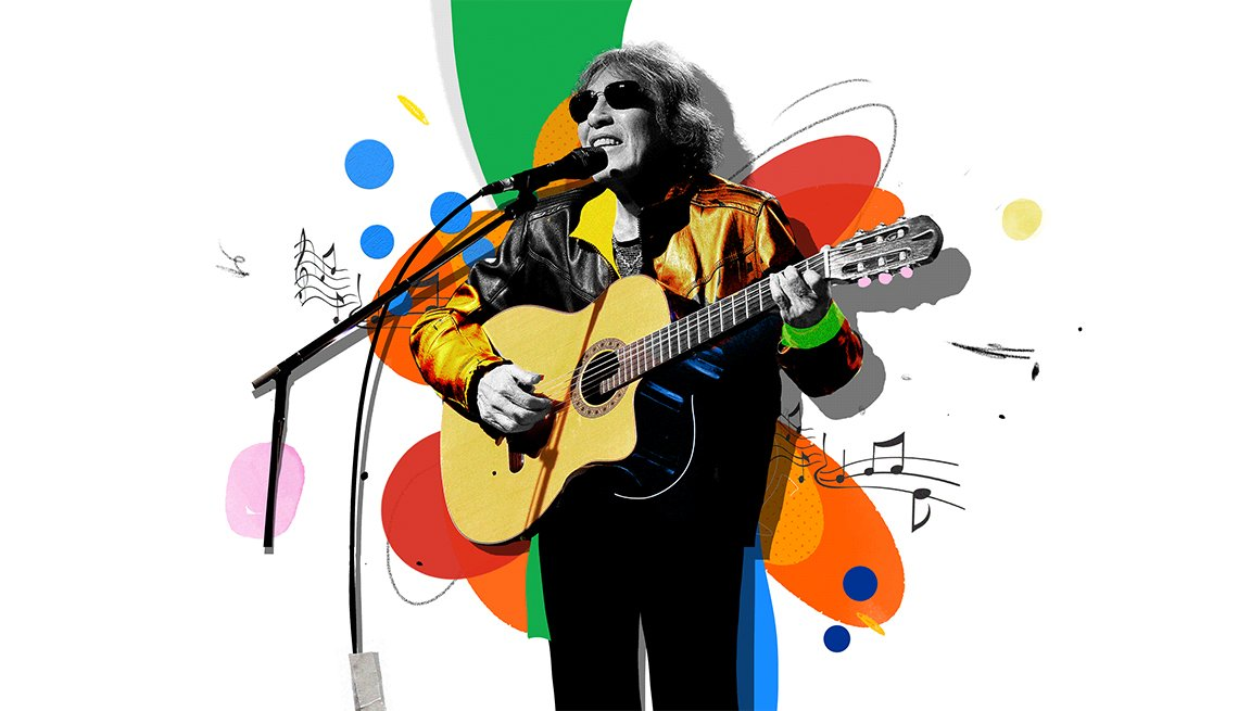 Colorful illustration of José Feliciano playing acoustic guitar