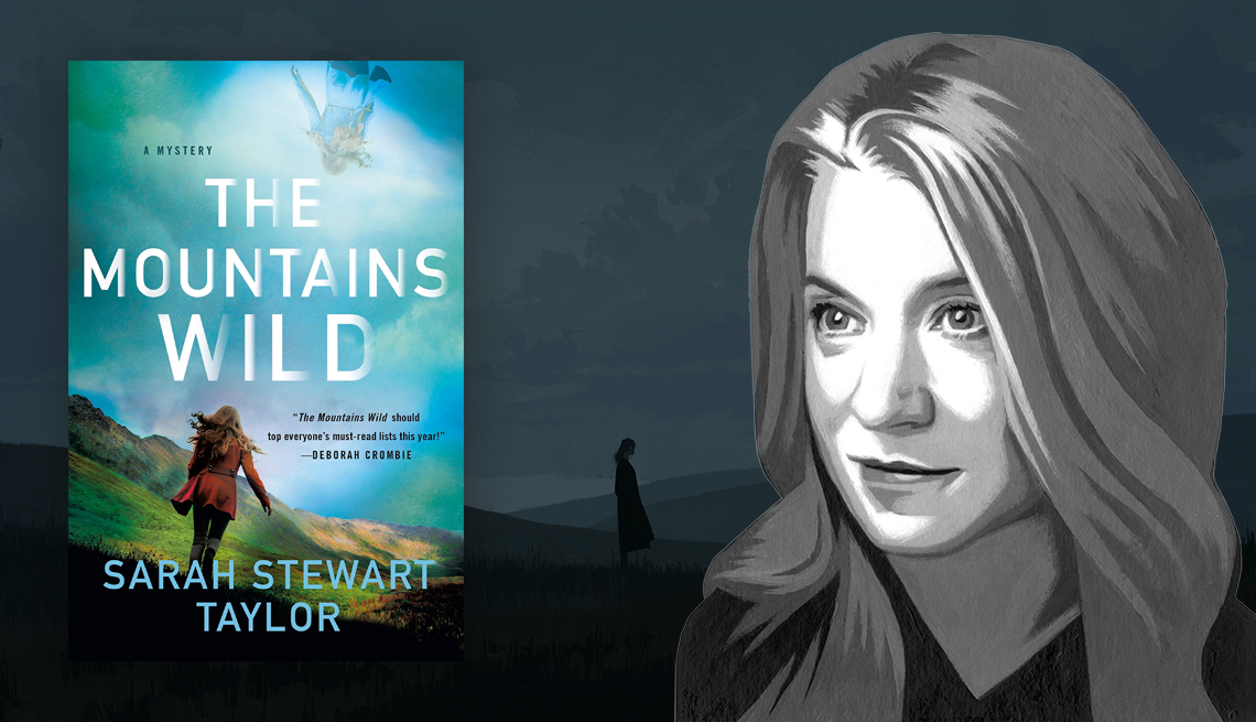 The Mountains Wild book cover and sketch of author Sarah Stewart Taylor