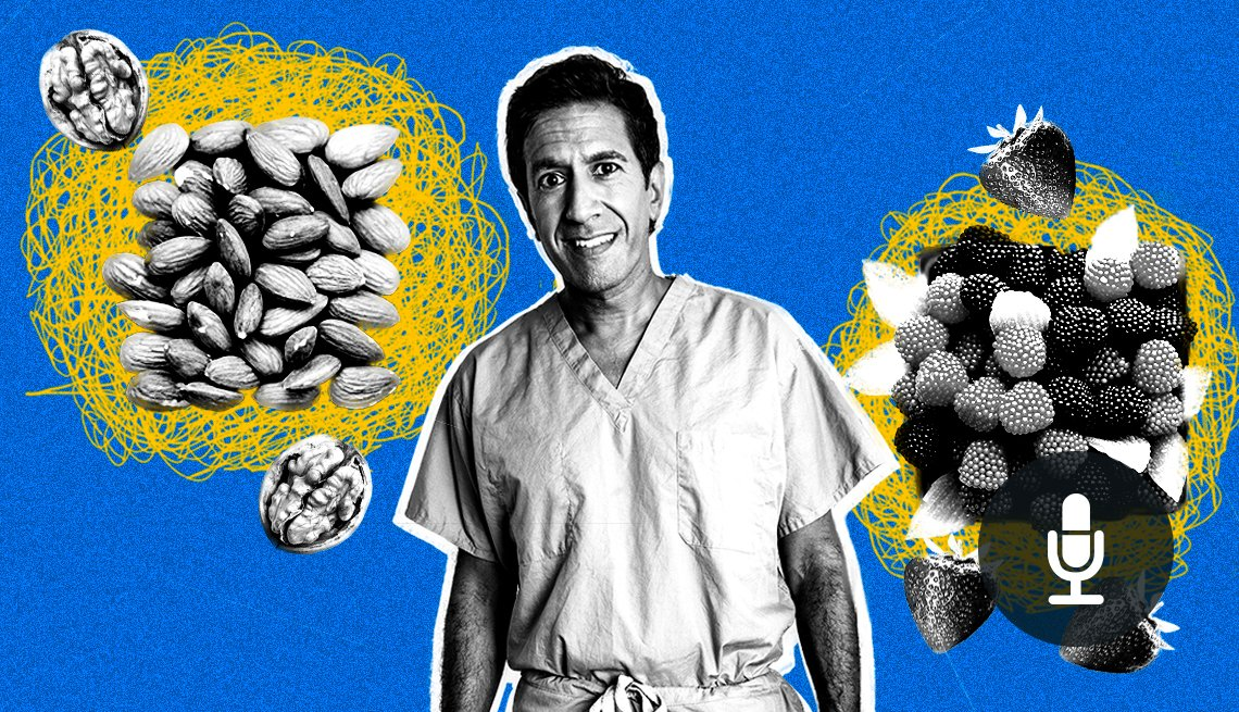 Photo montage of Dr. Sanjay Gupta with berries and nuts