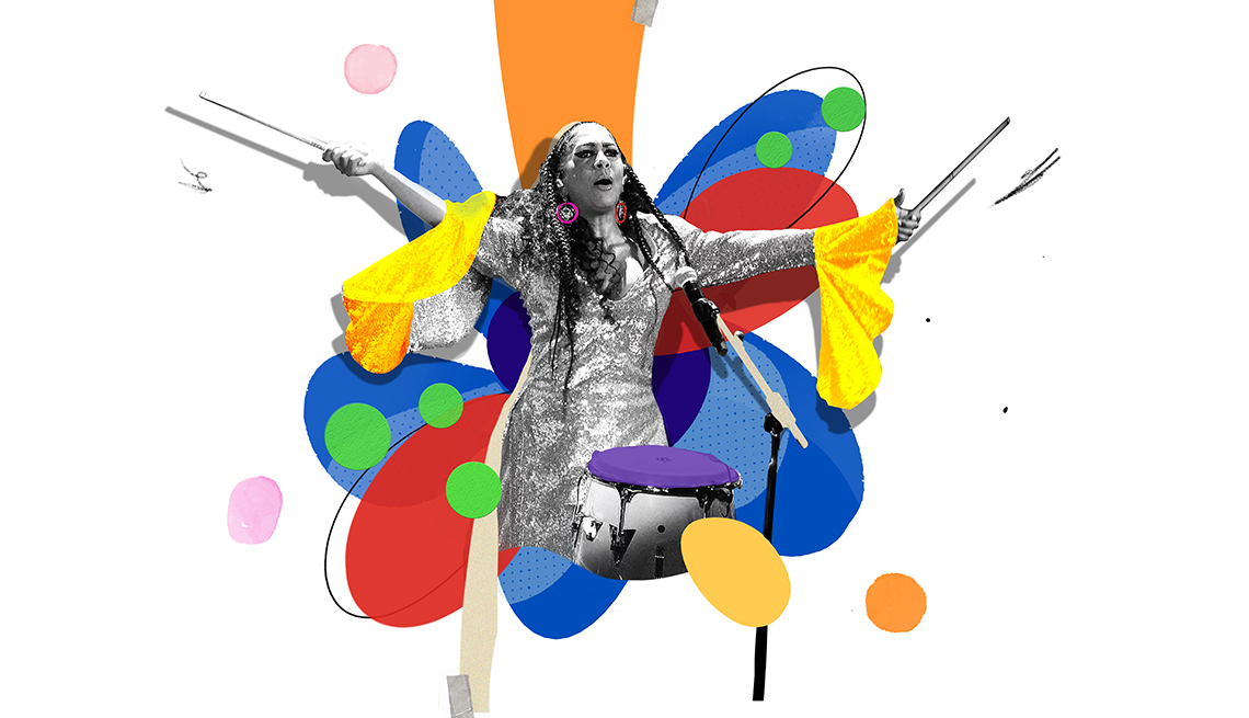 Colorful illustration of Sheila E. playing drum