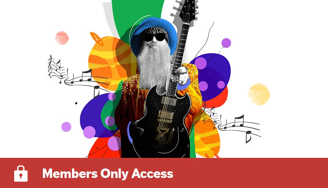 Colorful illustration of Billy F. Gibbons of ZZ Top holding guitar