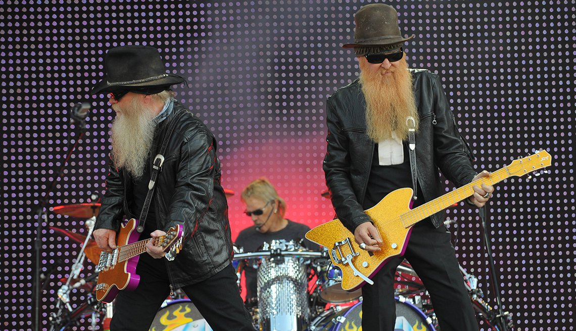 Billy F. Gibbons, Frank Beard, Dusty Hill of ZZ Top performing onstage