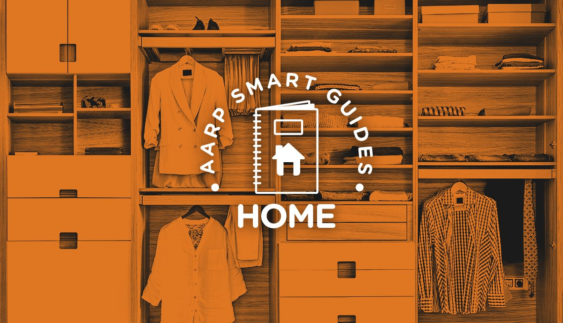 AARP Smart Guides Home graphic and orange-tinted photo of a very organized closet