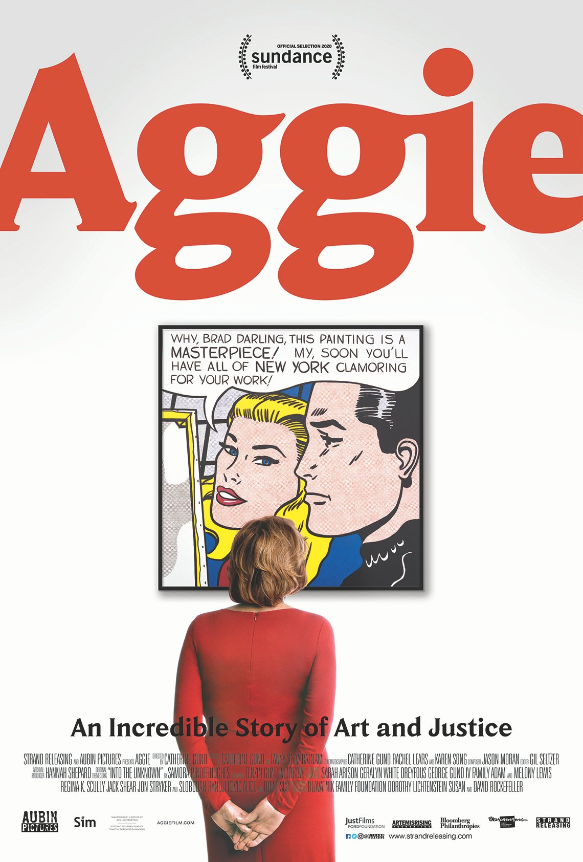 movie poster for 'Aggie' documentary showing Agnes Gund looking at Roy Lichtenstein's painting 'Masterpiece'