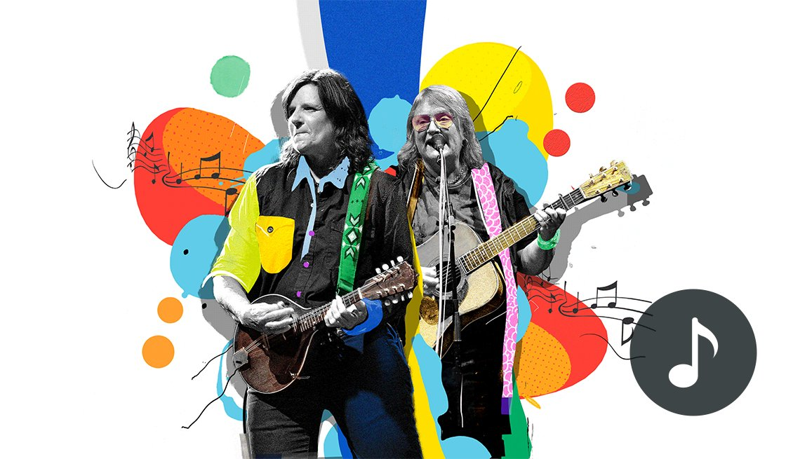 colorful illustration of Indigo Girls playing guitar