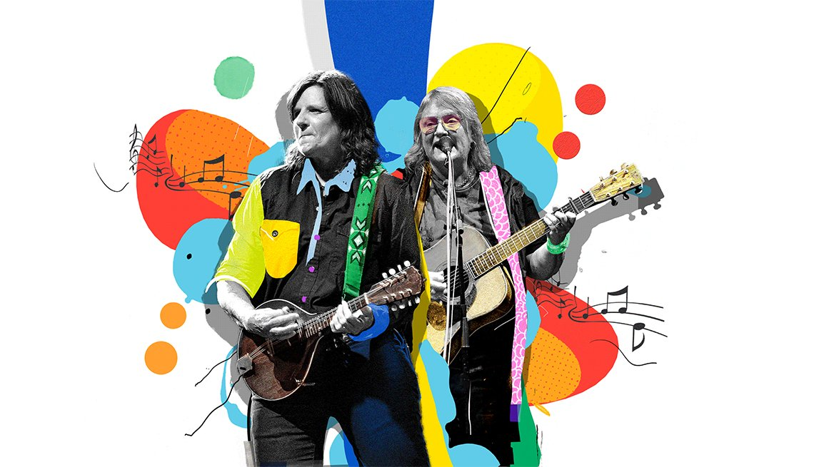 colorful illustration of Indigo Girls playing guitars
