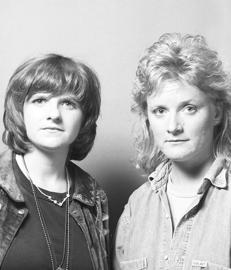 black and white portrait of Indigo Girls 1994