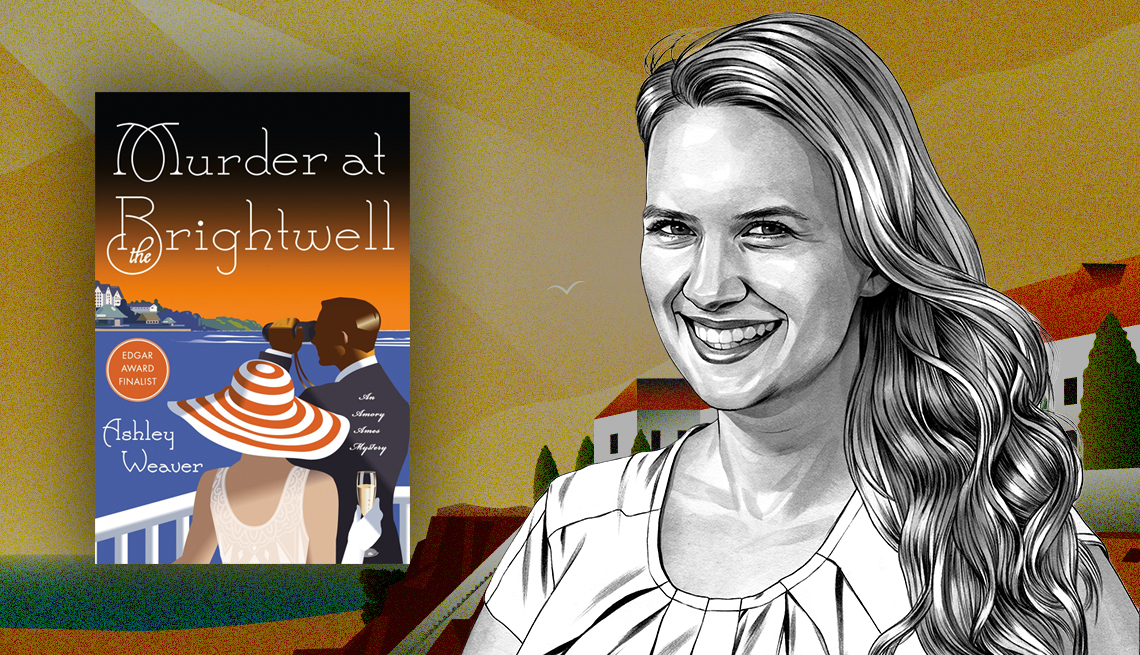 Murder at the Brightwell book cover and sketch of author Ashley Weaver