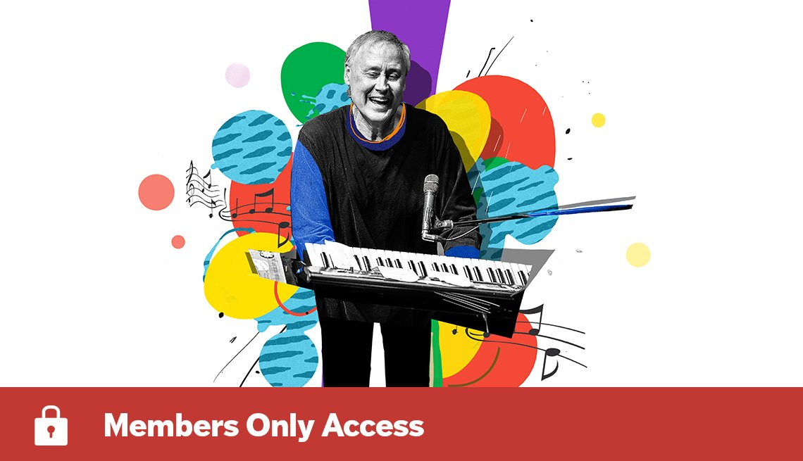 colorful illustration of Bruce Hornsby playing keyboard with Members Only Access lock