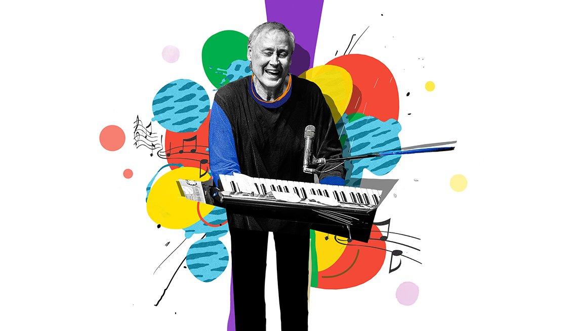 colorful illustration of Bruce Hornsby playing keyboard
