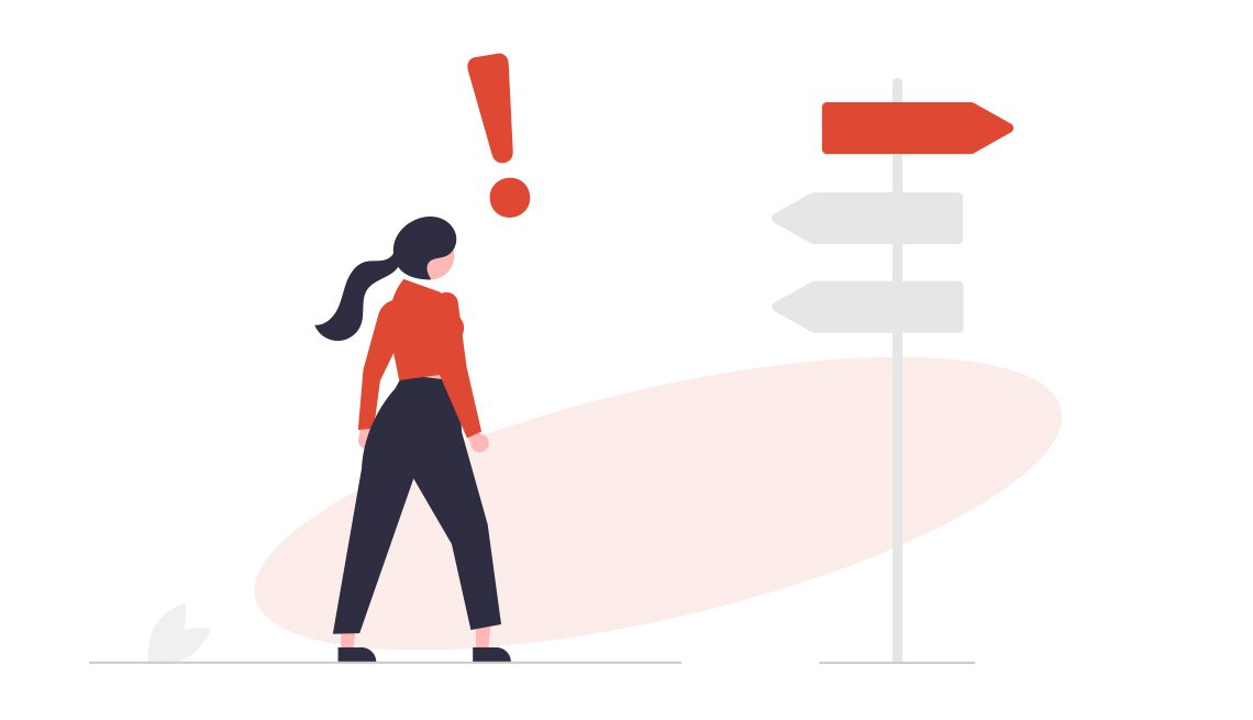 conceptual illustration of woman with exclamation point over her head looking at directional sign with three arrows