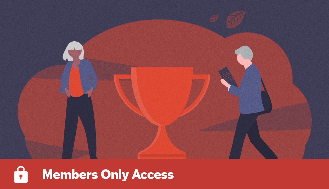 conceptual illustration of man and woman workers and large trophy and Members Only Access lock banner