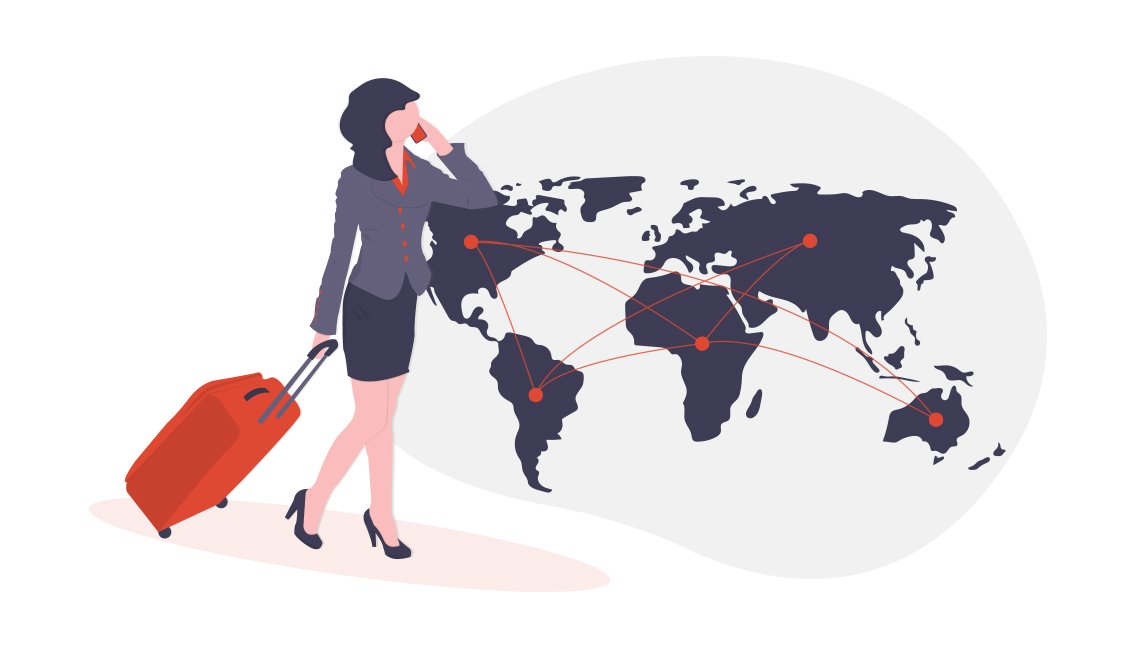 illustration of businesswoman on phone with rolling suitcase and large world map showing network connections