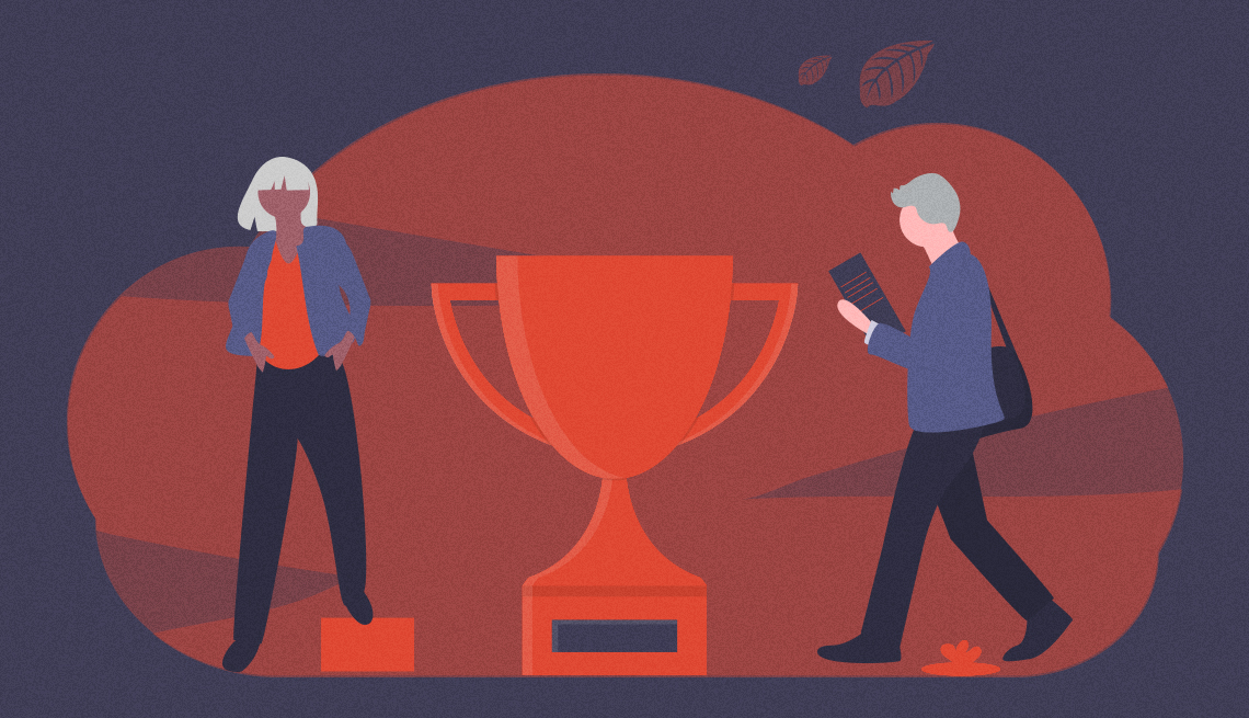 conceptual illustration of man and woman workers and large trophy