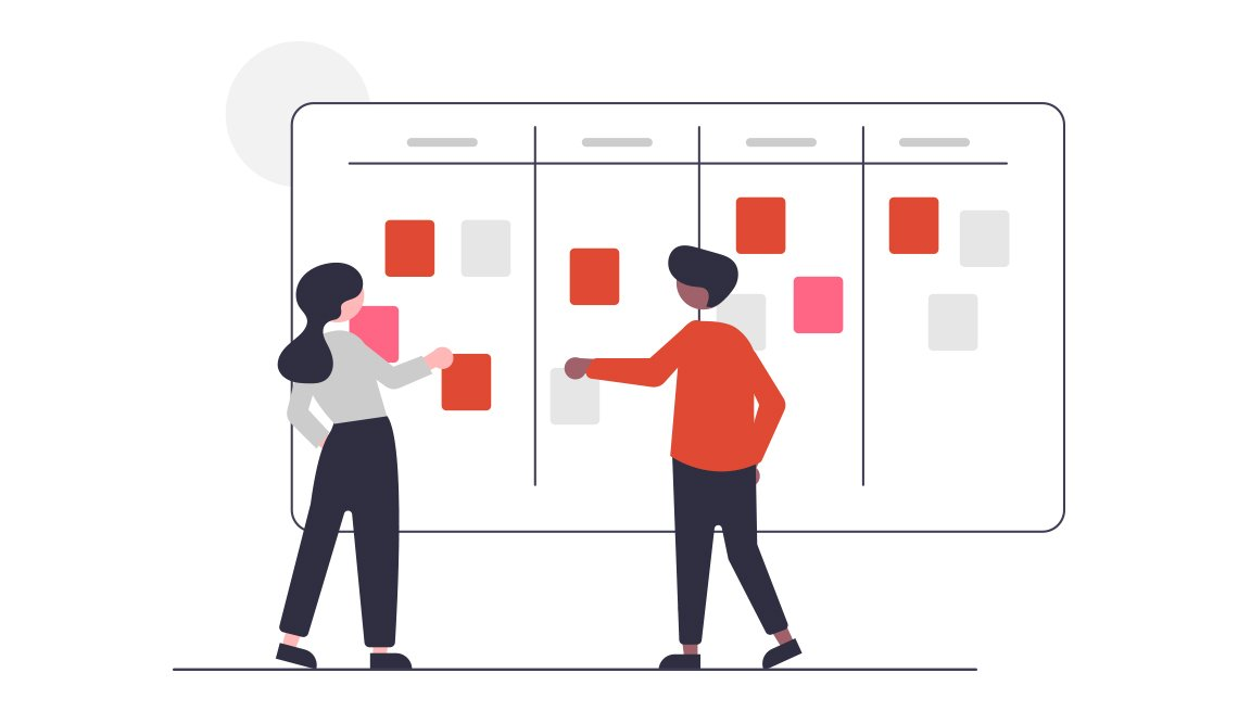 illustration of two people working together on a project board