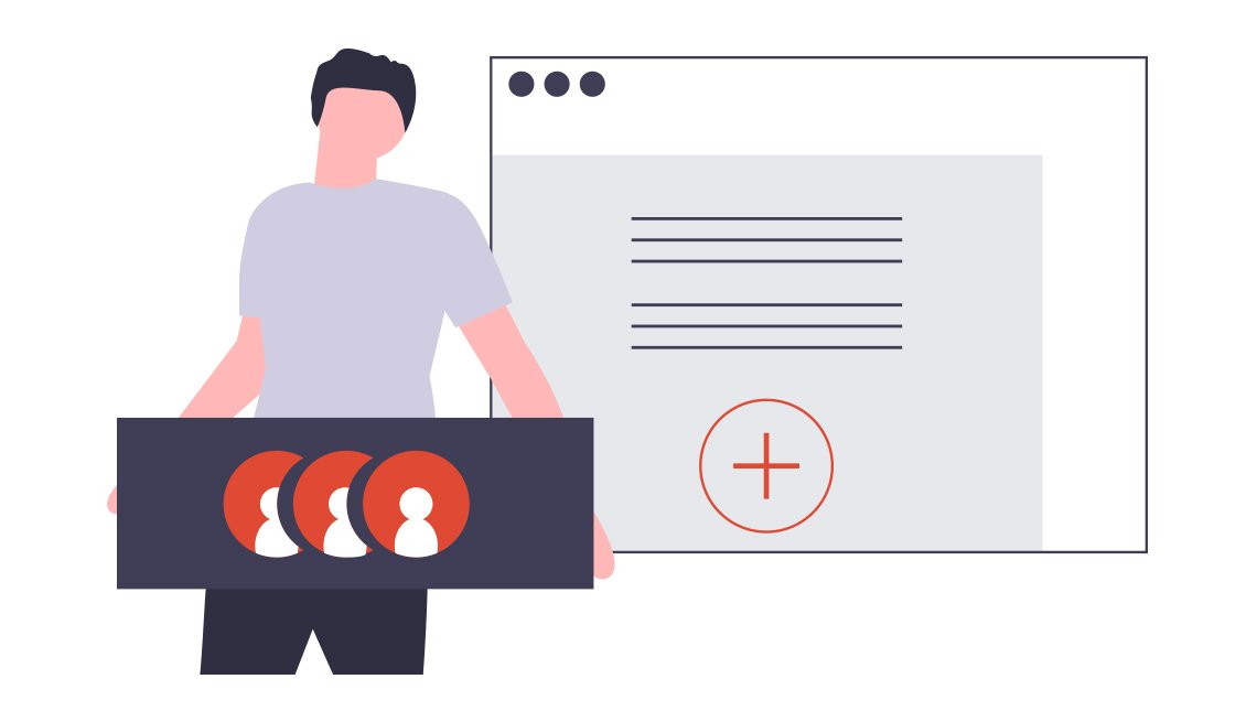 conceptual illustration of a man adding friends to an online social network