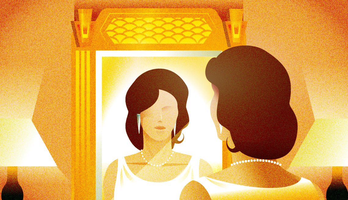 illustration of dark-haired woman looking into large gilt mirror