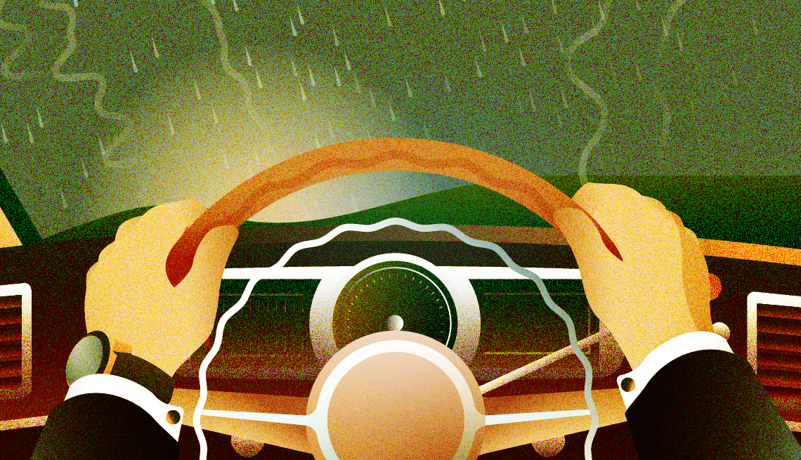 illustration of man's hands on steering wheel and rain on windshield