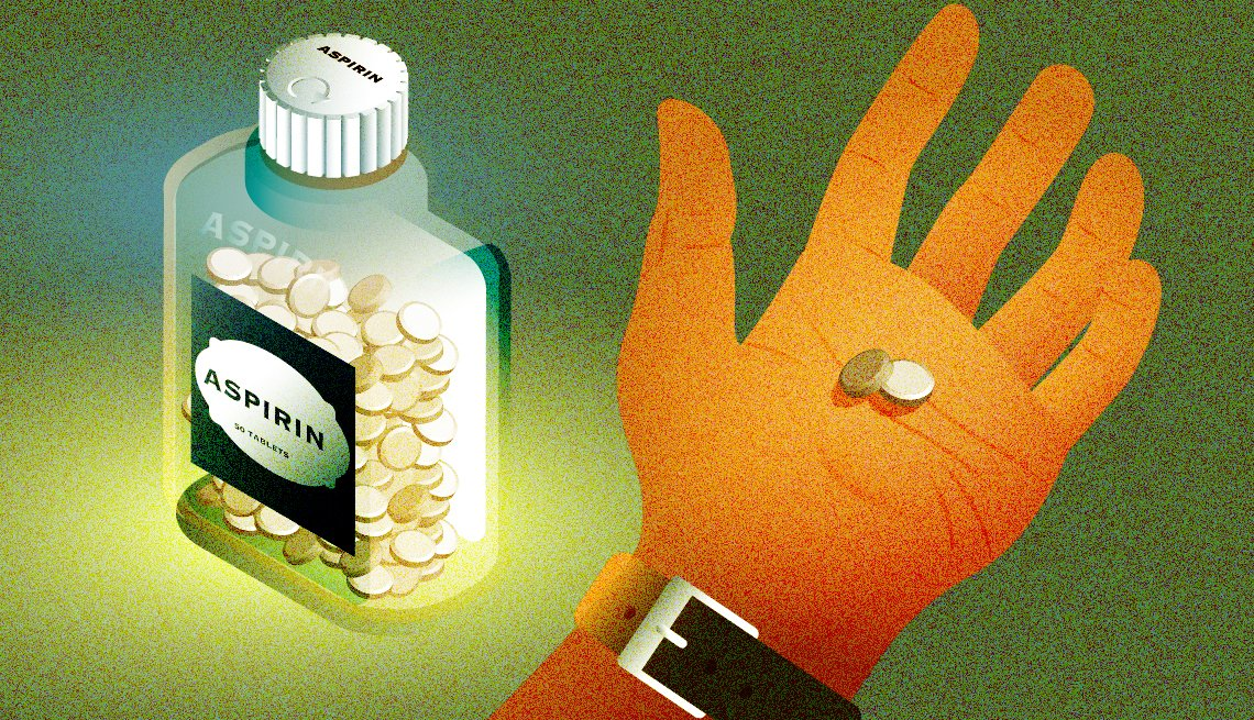illustration of a man's hand holding two tablets next to a bottle of aspirin
