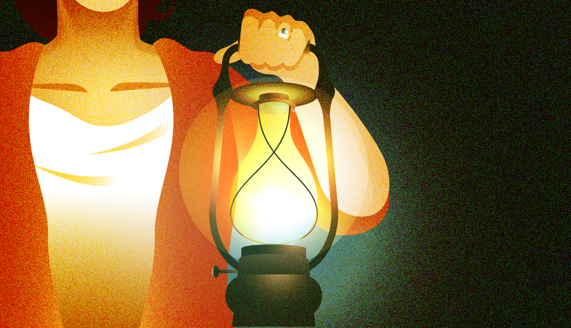 illustration of a woman whose head is not visible holding a glowing gas lamp