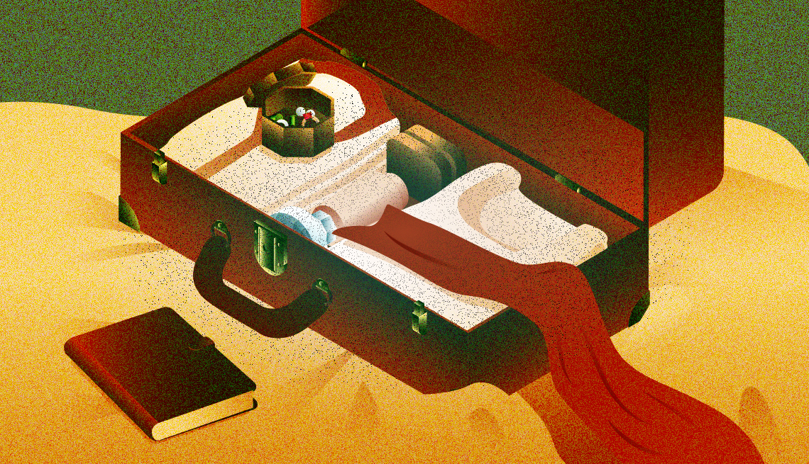 illustration of an open red suitcase mostly packed, with a red scarf over the side and a book beside it on the bed