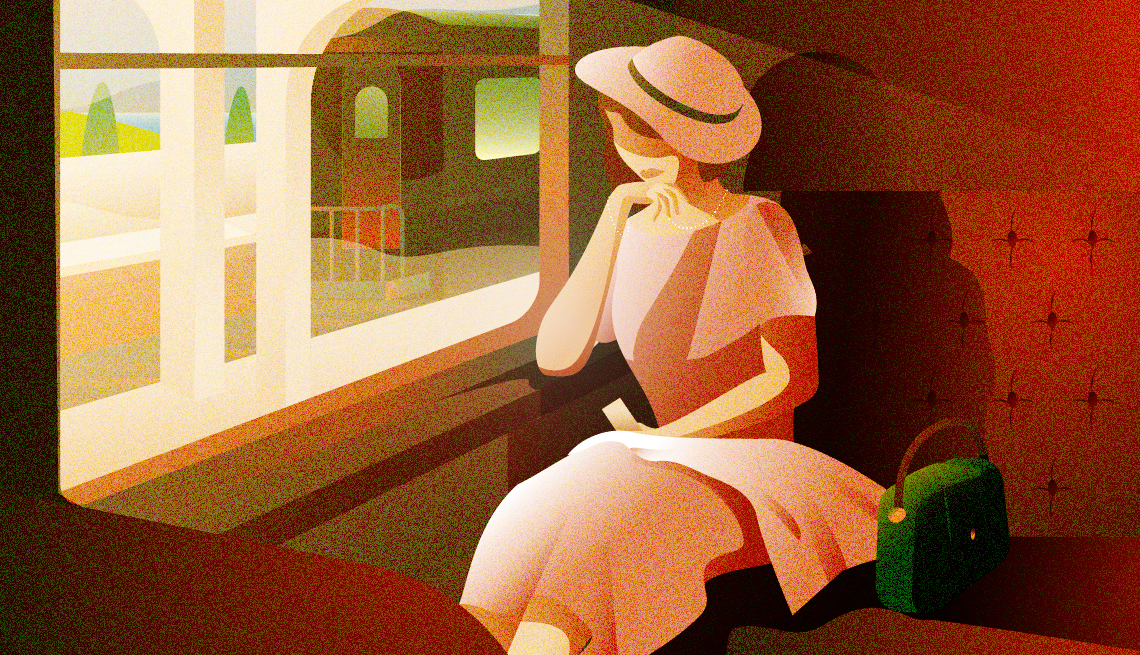illustration of a well-dressed woman in an elegant pink dress with matching hat and green purse  sitting alone in a train car