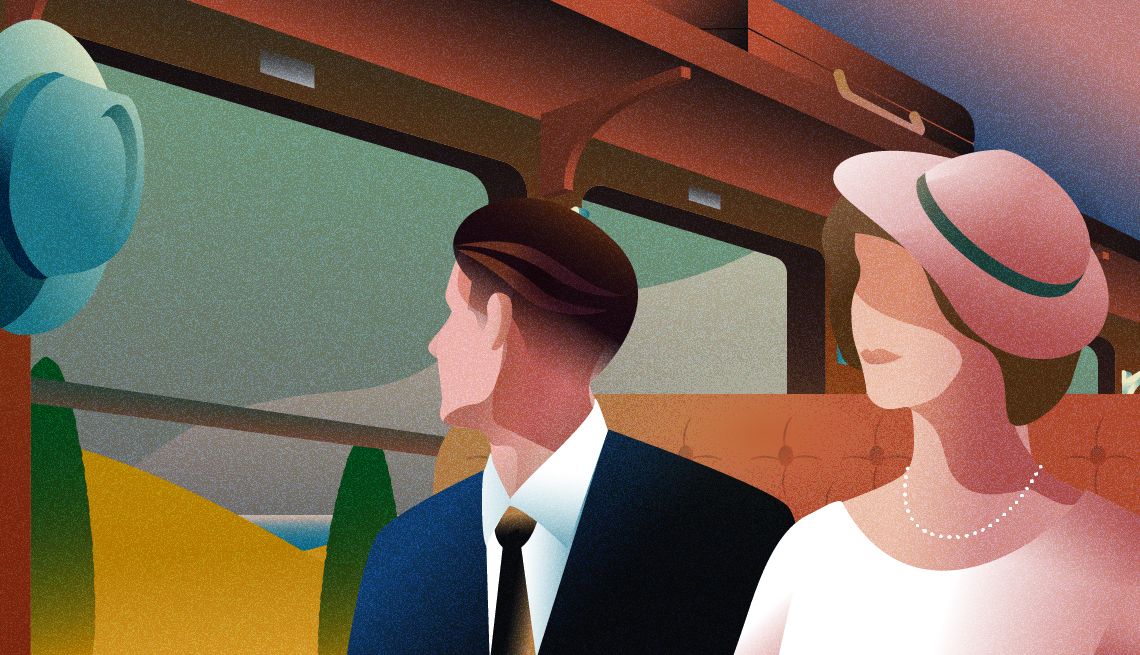 illustration of well-dressed man and woman sitting next to one another in 1930s-style train car