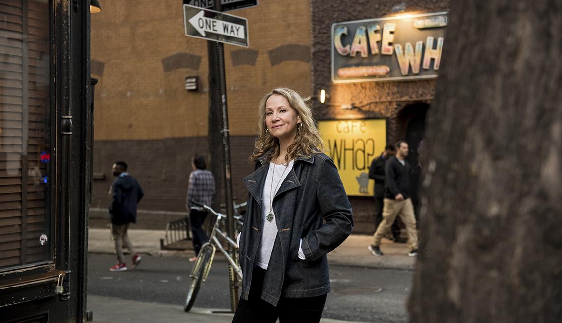Singer Joan Osborne outside Cafe Wha? on Macdougal Street in the West Village of New York in 2017