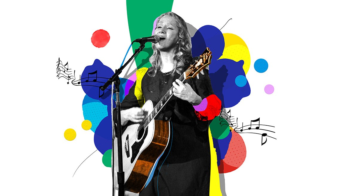 Colorful illustration of Joan Osborne at microphone playing guitar