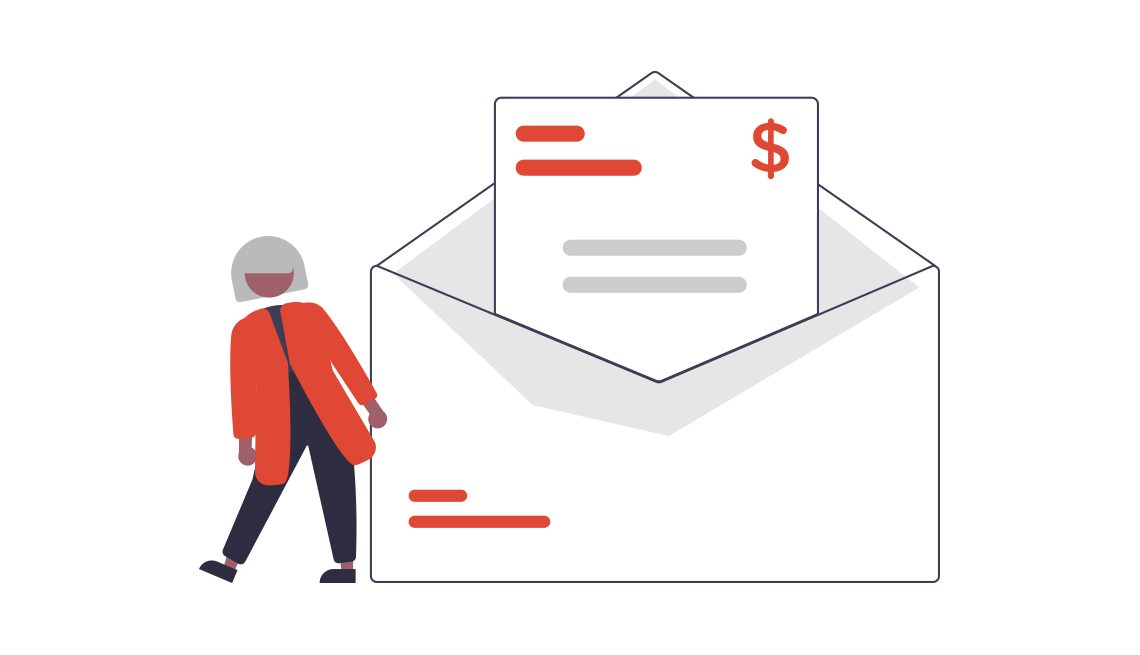 conceptual illustration of a person standing beside an oversized envelope with a bill inside it