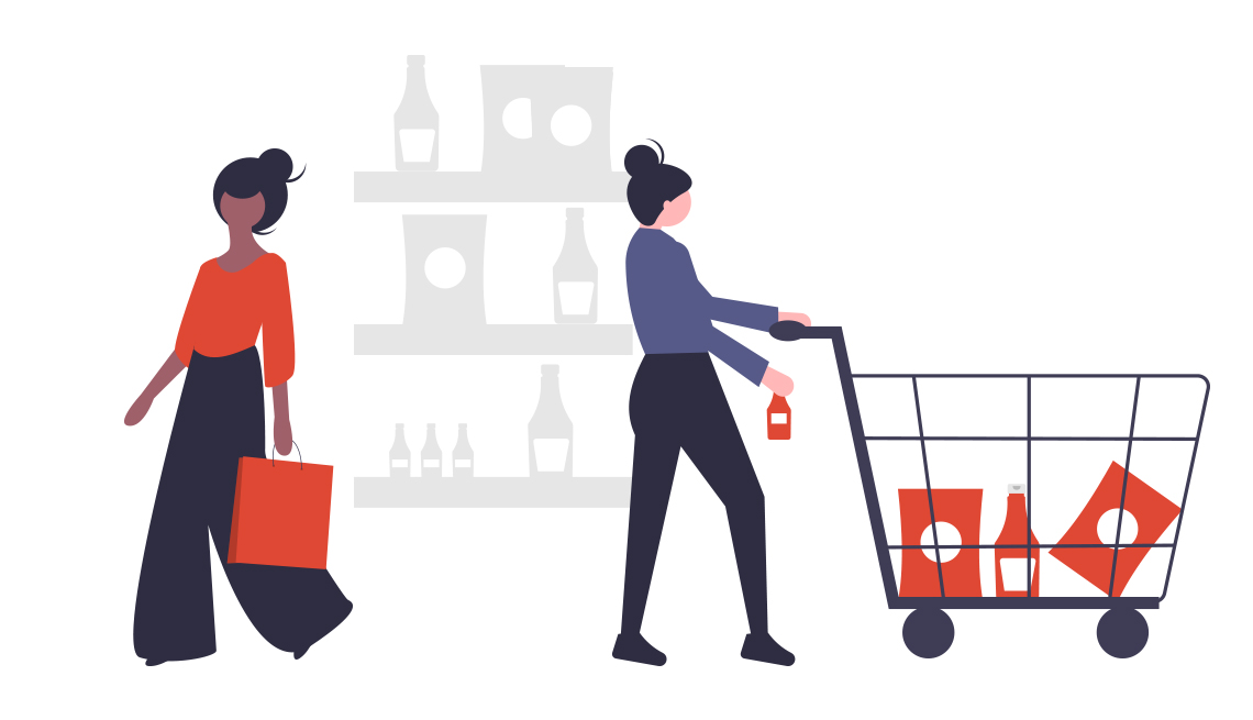 illustration of two women shopping, one casually dressed pushing a grocery cart and the other well-dressed carrying a red shopping bag