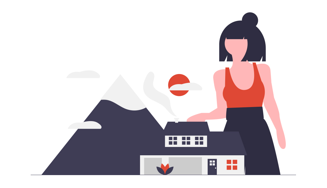 conceptual illustration of a woman looming over a house and mountain with red sun in the background