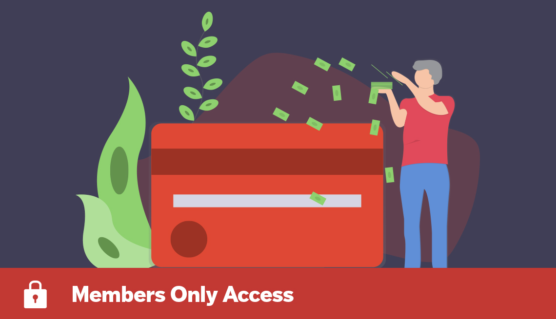 conceptual illustration of a person putting dollar bills towards a large credit card and a growing plant, with Members Only Access banner
