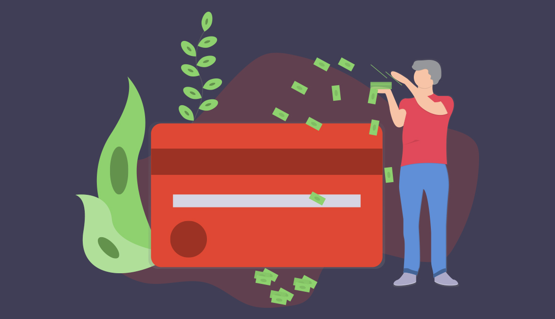 conceptual illustration of a person putting dollar bills towards a large credit card and a growing plant