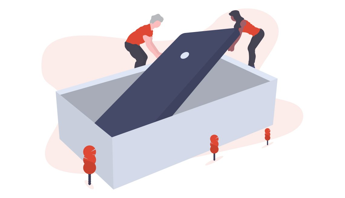 conceptual illustration of two people lifting an oversized smartphone out a box
