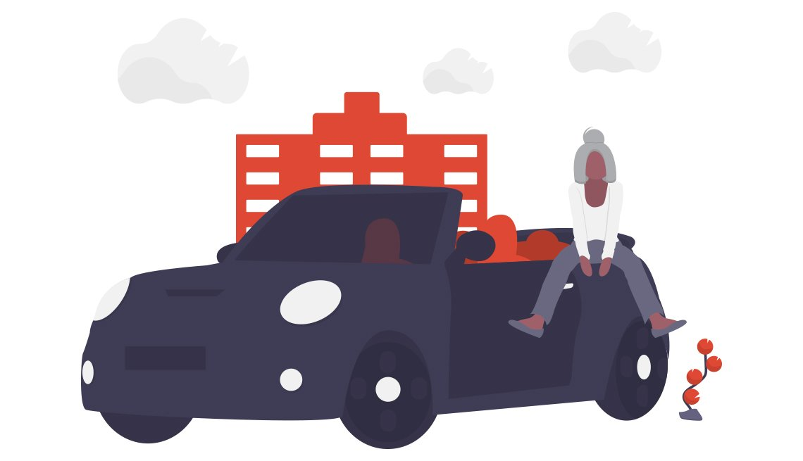 conceptual illustration of a person sitting on the back of a vehicle with a building and clouds in the background