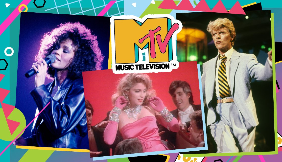 collage of Whitney Houston, Madonna, and David Bowie with MTV Music Television(TM) logo and colorful border