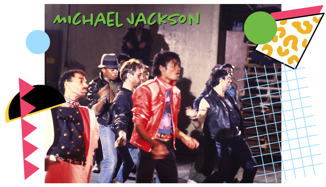"""still from Michael Jackson's 'Beat It"""" video with Jackson and others"""