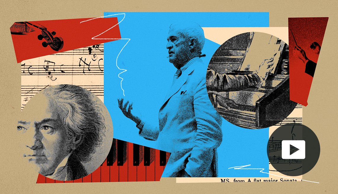 Harvard professor Thomas Kelly in collage of music-themed images including sheet music, piano, violin and portrait of Beethoven
