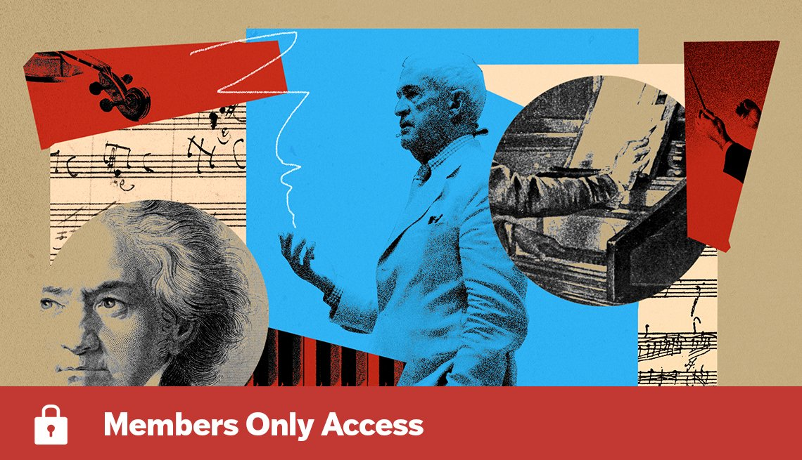Harvard professor Thomas Kelly in collage of music-themed images including sheet music, piano, violin and portrait of Beethoven with Members Only Access banner