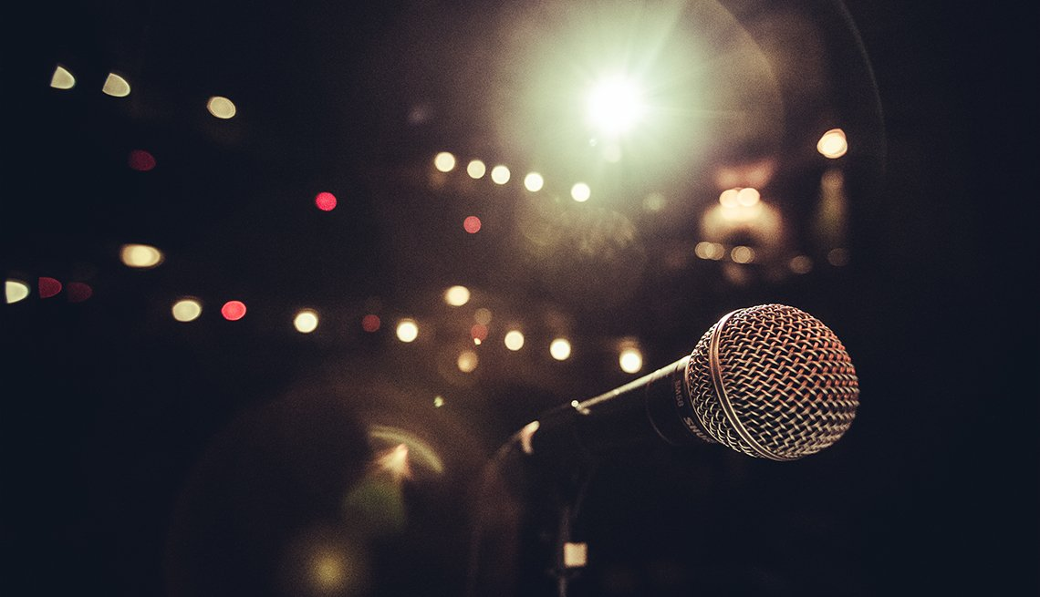 microphone and glare of stage lights