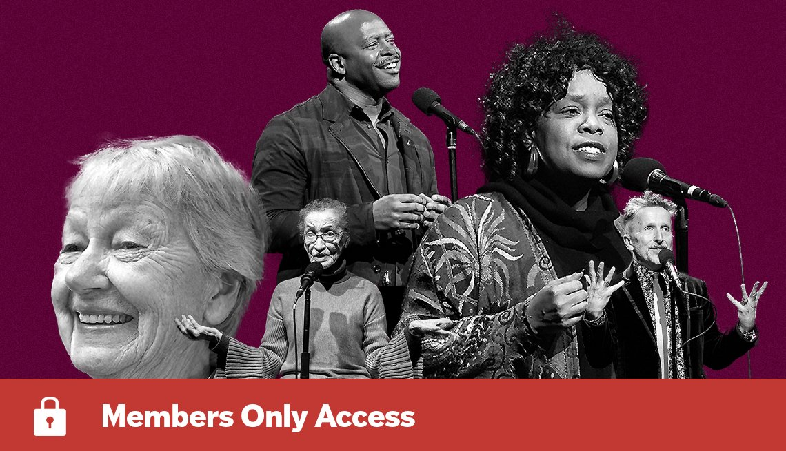 The Moth storytellers Andrea King Collier, Leland Melvin, Betty Reid Soskin, Simon Doonan and Cynthia Riggs against a purple background with Members Only Access banner