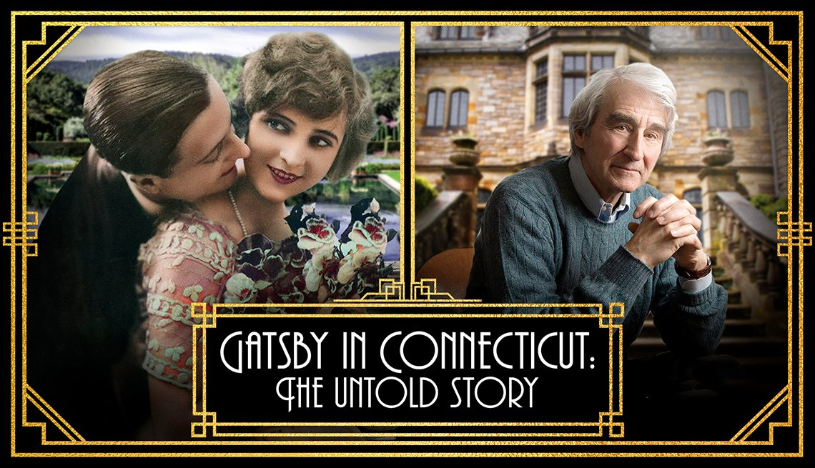 film poster with words 'Gatsby in Connecticut: The Untold Story' and photo of F. Scott Fitzgerald and wife Zelda in a scenic setting beside photo of Sam Waterston sitting on the steps of a mansion