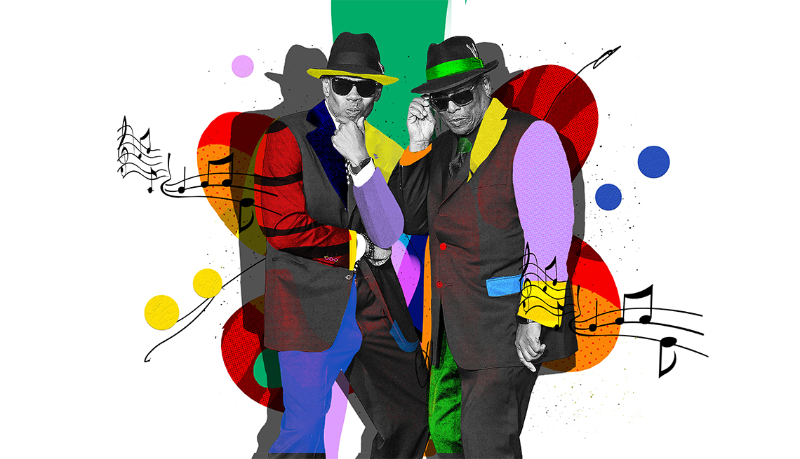 colorful illustration of Jimmy Jam and Terry Lewis wearing hats and sunglasses