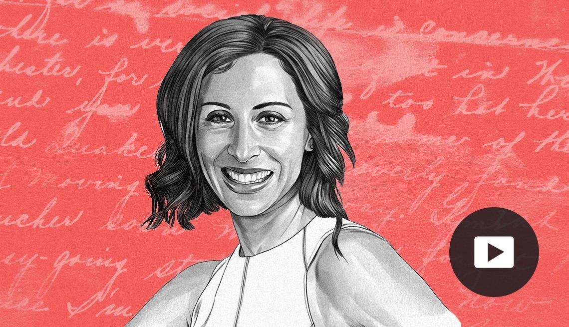 illustration of Lisa Genova against background with cursive words
