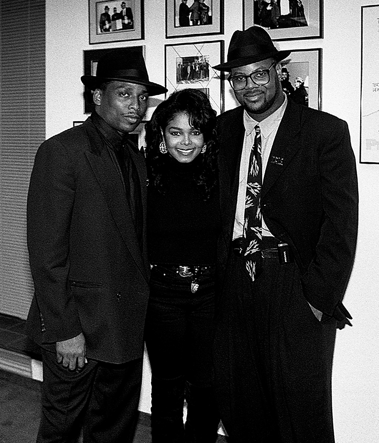 black-and-white photo of Jimmy Jam, Janet Jackson, and Terry Lewis inside Flyte Tyme Studios