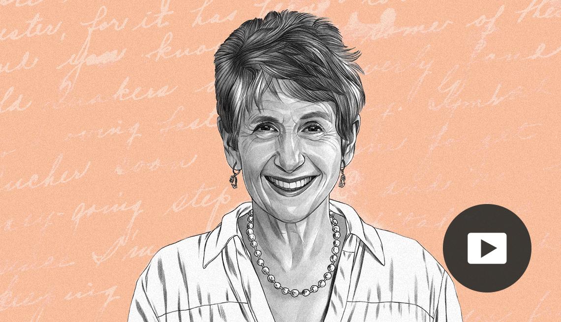 illustration of Francine Russo against background of cursive words