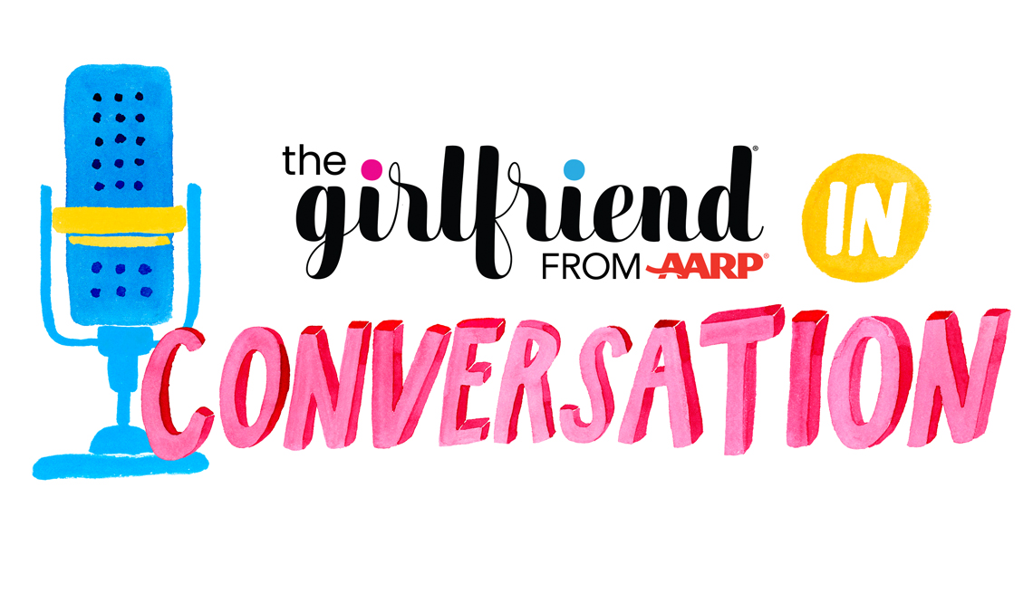 'the girlfriend: in conversation' from a a r p logo with illustration of desktop radio microphone